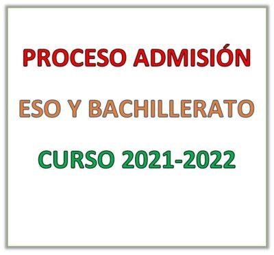 Admisión ESO y Bachillerato 2021